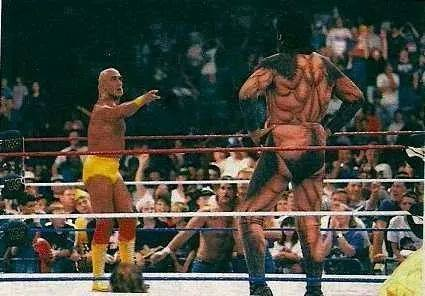 A rare pic of Hogan's confrontation with Gonzalez