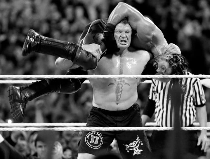 Brock Lesnar & Seth Rollins at WrestleMania 31