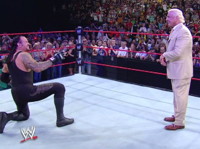 Undertaker breaks character during Ric Flair's farewell on Raw