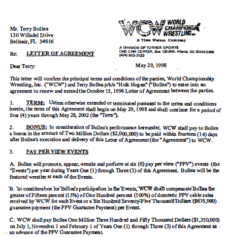 Hulk Hogan WCW 1998 Contract Leaked