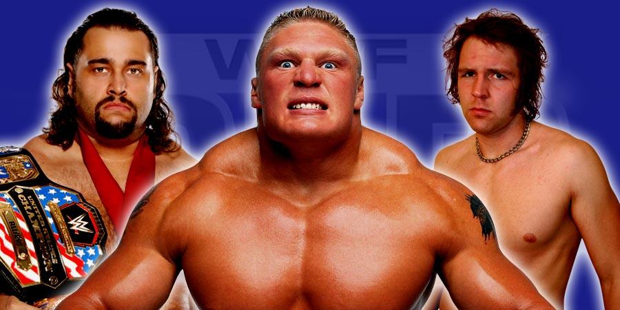Rusev, Brock Lesnar, and Dean Ambrose