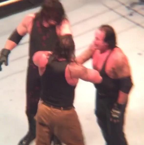 Undertaker and Kane Double chokeslam on Braun Strowman