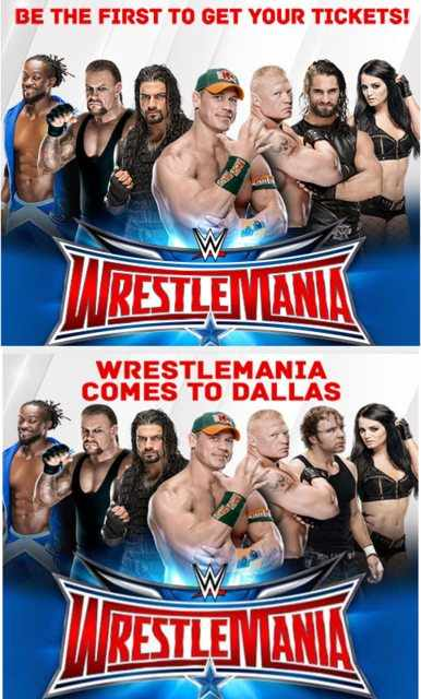 WrestleMania 32 Poster - Seth Rollins replaced by Dean Ambrose