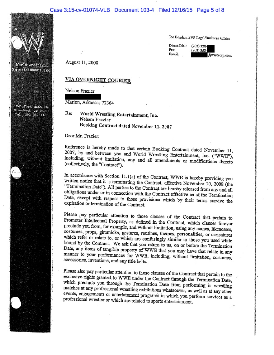 Big Daddy V's WWE Termination Letter From 2008 Leaks Online