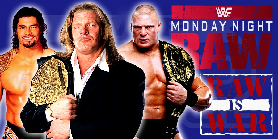 WWE Raw 2016 - Triple H as WWE World Champion, Brock Lesnar & Roman Reigns
