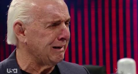 Ric Flair crying on WWE Raw (May 23, 2016) - Ric Flair Written Off WWE Programming
