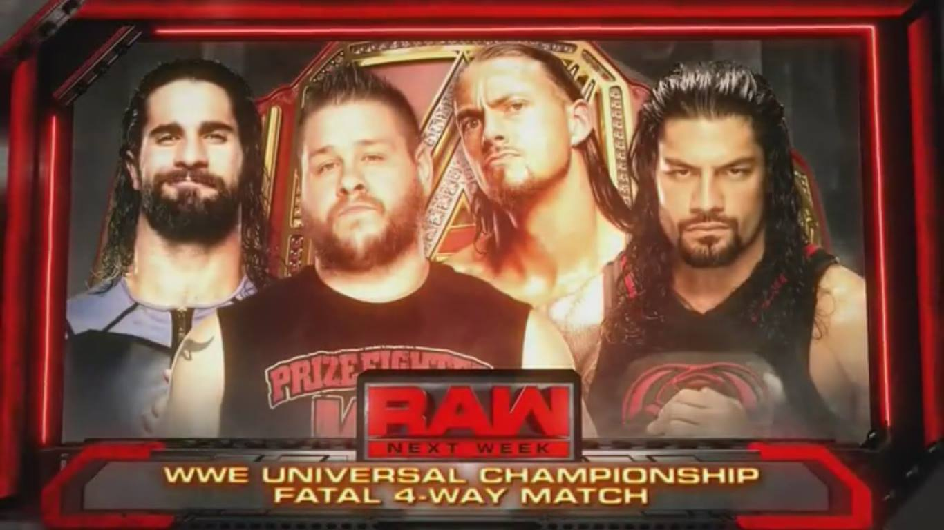 WWE Universal Championship Match - Seth Rollins vs. Kevin Owens vs. Big Cass vs. Roman Reigns