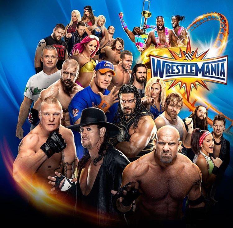 Official WrestleMaina 33 Poster - The Undertaker, Goldberg, Brock Lesnar, Roman Reigns, John Cena, Triple H, Shane McMahon