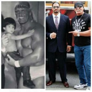 Roman Reigns as a kid with Hulk Hogan and Roman Reigns as a grown up man with Hulk Hogan