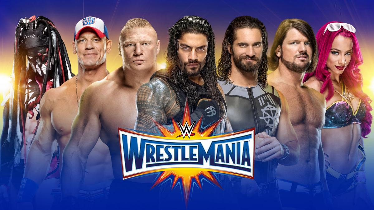 Roman Reigns in the center of the WrestleMania 33 promotional poster