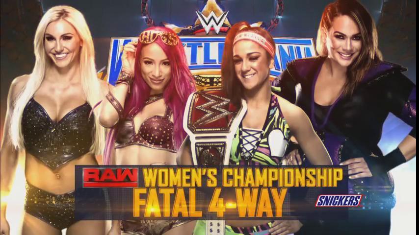 Znalezione obrazy dla zapytania Bayley (c) vs. Charlotte Flair vs. Sasha Banks vs. Nia Jax