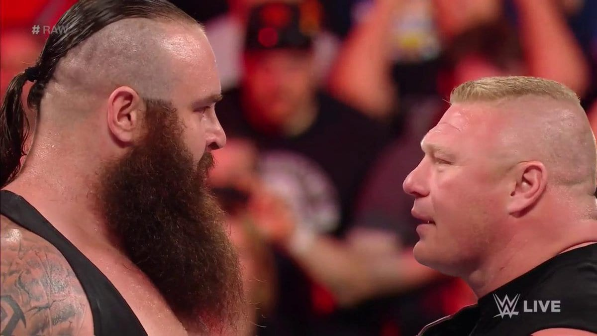 Braun Strowman confronts WWE Universal Champion Brock Lesnar on Raw after WrestleMania 33
