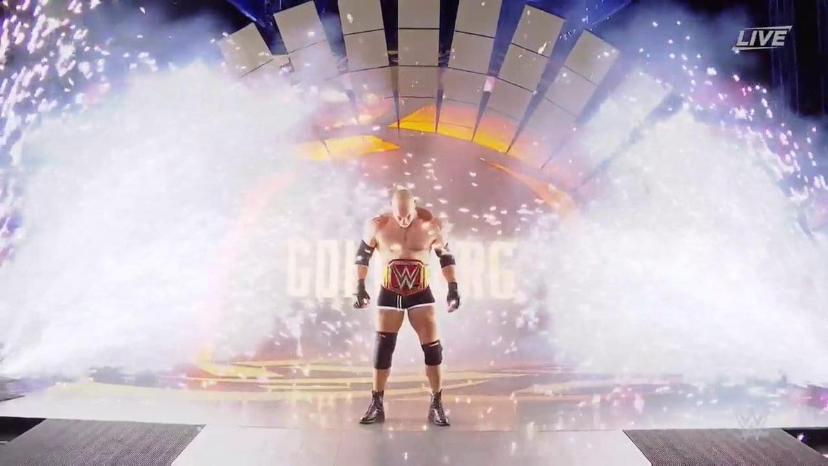 Goldberg makes his legendary entrance at WrestleMania 33 as the WWE Universal Champion