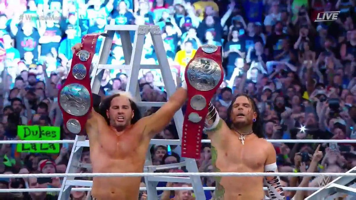 Hardy Boyz win the Raw Tag Team Titles at WrestleMania 33