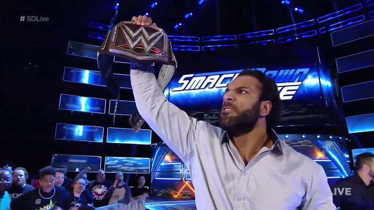 Jinder Mahal with the WWE Championship