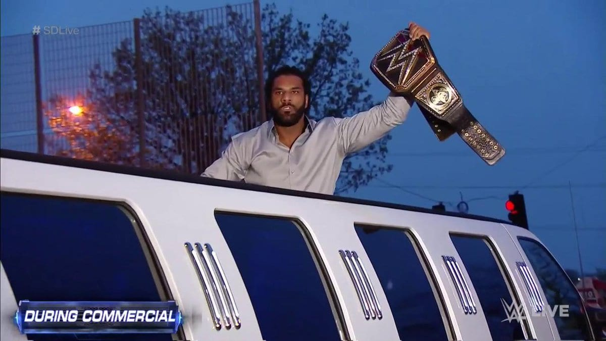Jinder Mahal steals the WWE Championship belt from Randy Orton