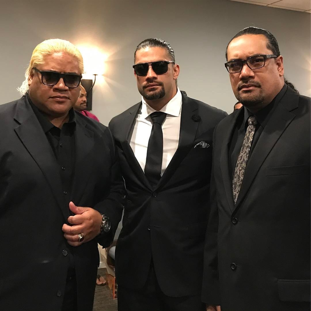 Rikishi & Roman Reigns at Rosey's funeral