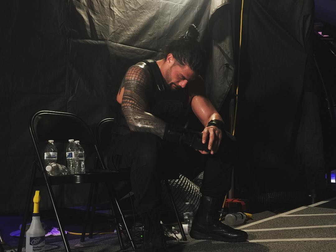 Roman Reigns backstage at WrestleMania 33 after defeating The Undertaker