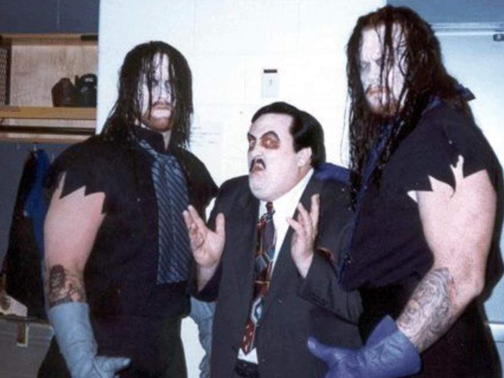 The Undertaker and the fake Undertaker with Paul Bearer backstage at SummerSlam 1994