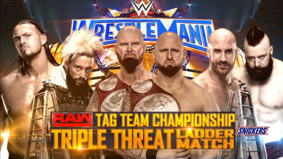 WrestleMania 33 Ladder Match For The Raw Tag Team Championship - Luke Gallows & Karl Anderson (c) vs. Cesaro & Sheamus vs. Enzo Amore & Big Cass