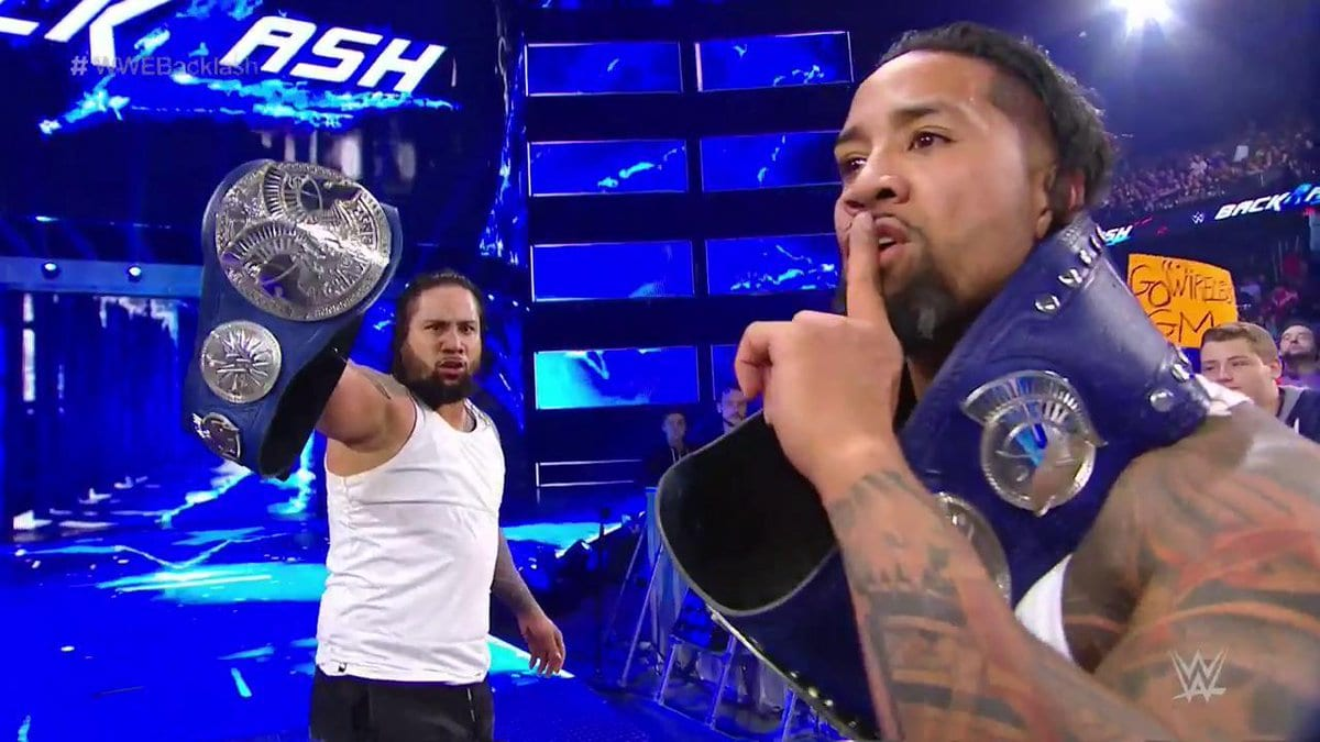 The Usos retain the SmackDown Tag Team Titles by defeating Breezango at Backlash 2017