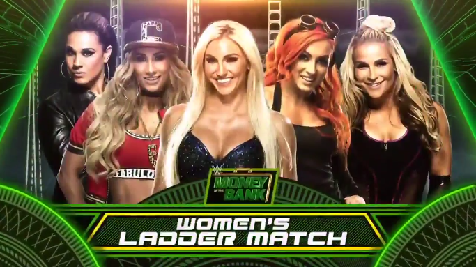 1st Ever Women's Money in the Bank Ladder match 2017 - Charlotte Flair vs. Carmella vs. Natalya vs. Becky Lynch vs. Tamina Snuka