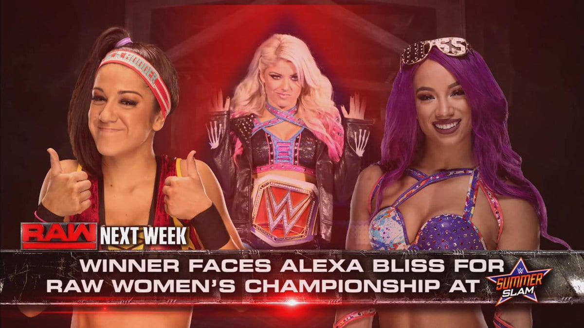 Bayley vs. Sasha Banks on Raw - Winner faces Alexa Bliss for the Raw Women's Championship at SummerSlam 2017