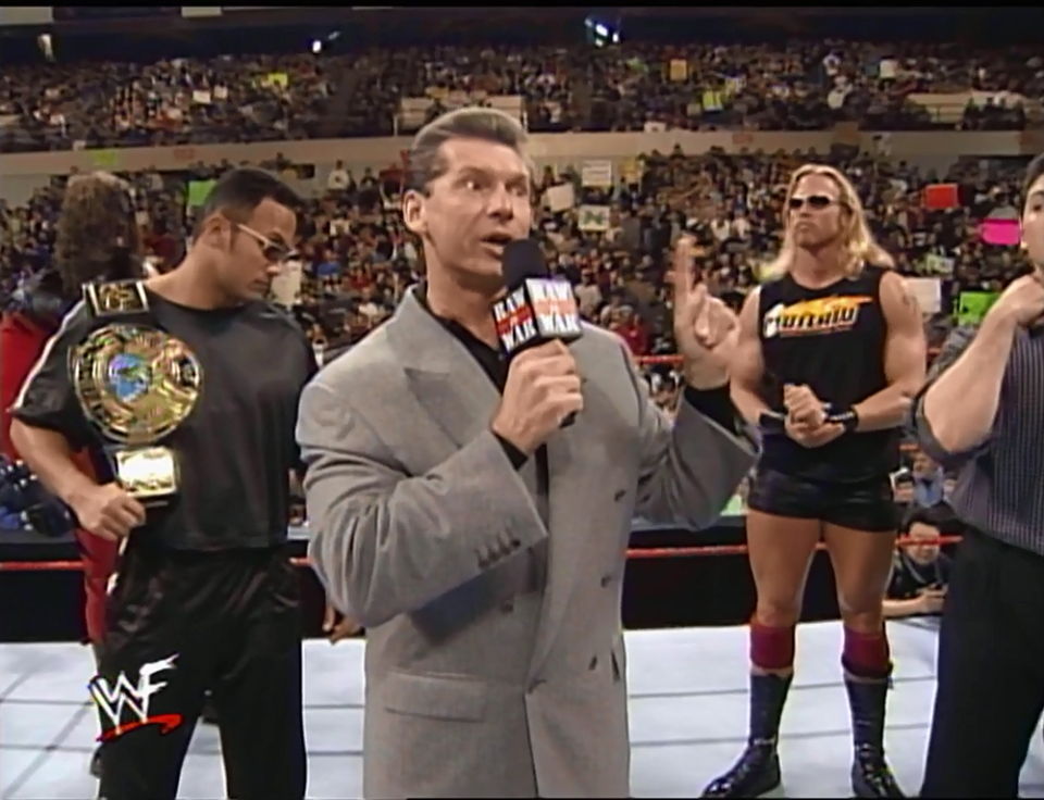 Mr. McMahon (with The Corporation) addresses the firing of Shawn Michaels - WWF Raw Is War (January 4, 1999)