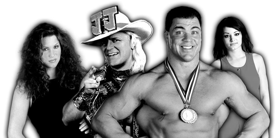 Stephanie McMahon, Kurt Angle, Jeff Jarrett, Paige