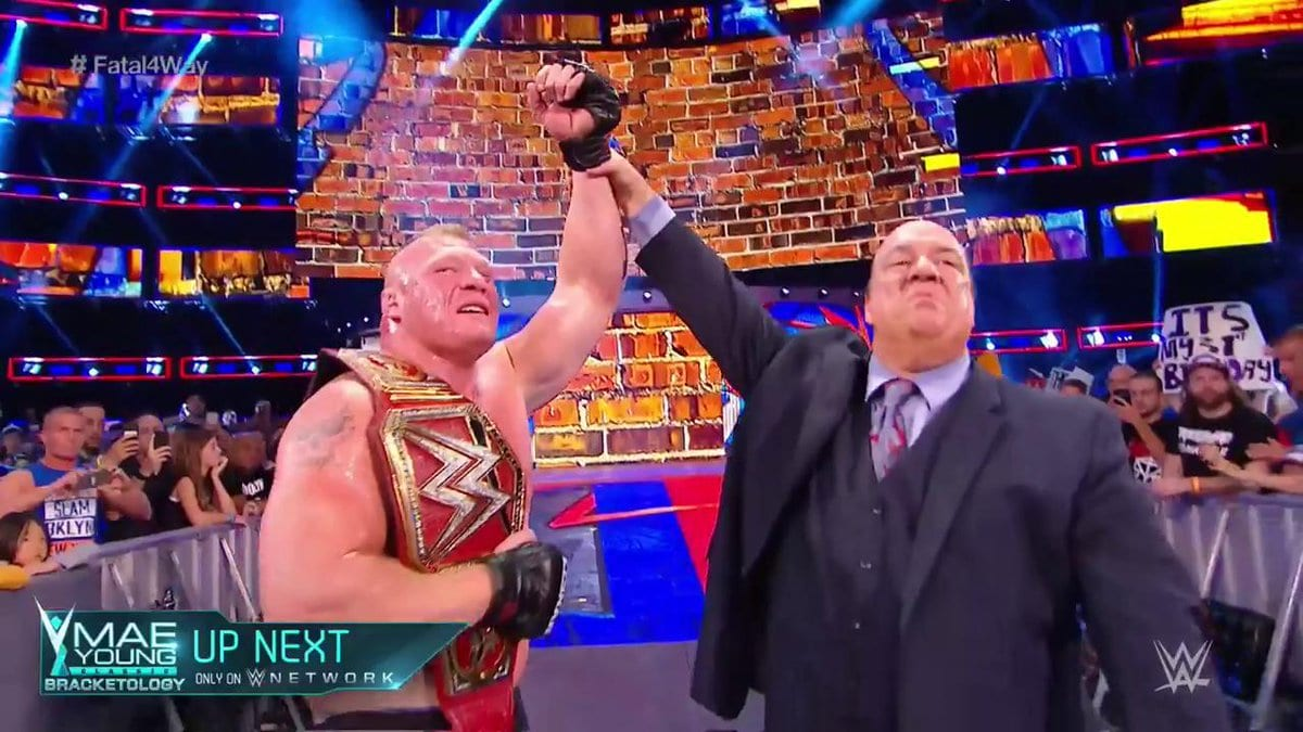 Brock Lesnar pins Roman Reigns at SummerSlam 2017 to retain the Universal Championship