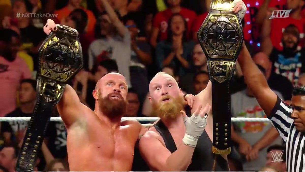 Eric Young and Alexander Wolfe of SAnitY defeat The Authors of Pain to win the NXT Tag Team Championship