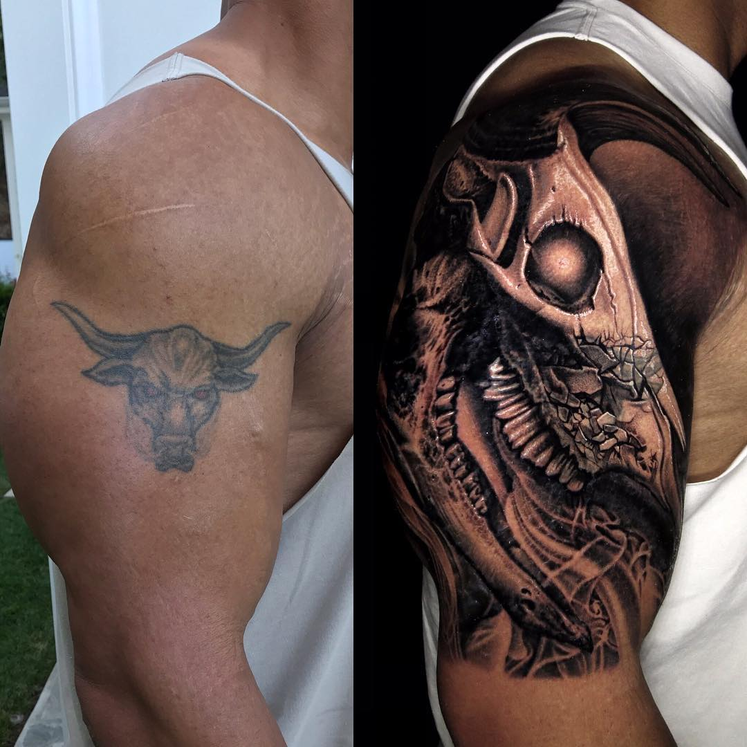 The Rock's Updated Brahma Bull Tattoo - August 11, 2017