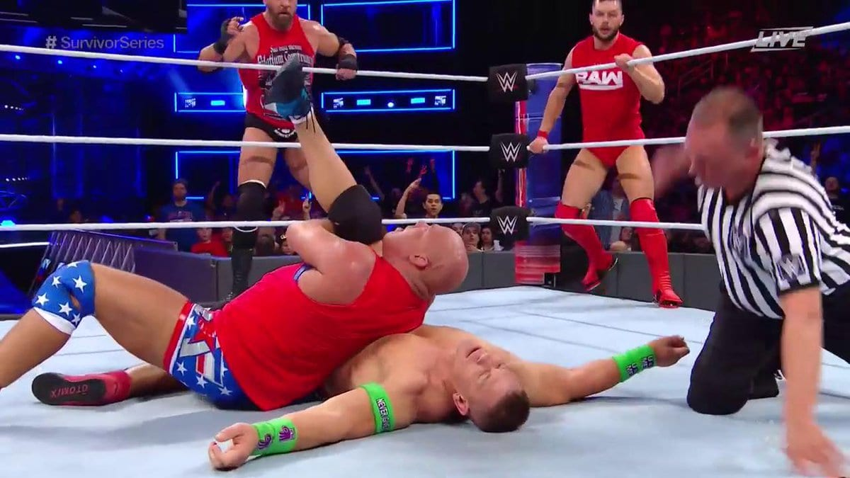 Kurt Angle pins John Cena at Survivor Series 2017