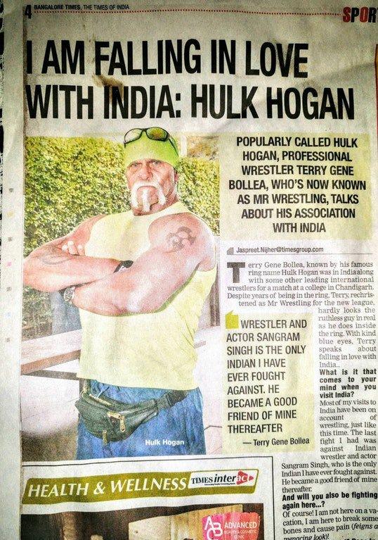 Times of India trolled by fake Hulk Hogan