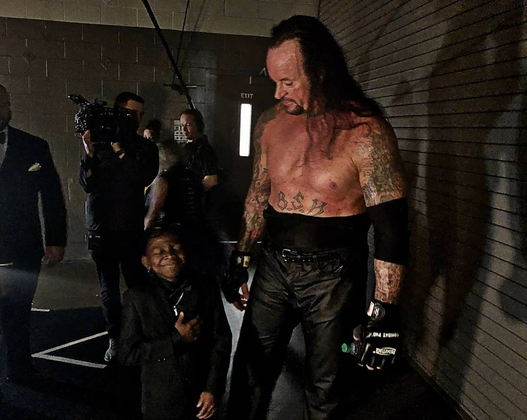 The Undertaker Backstage At WrestleMania 34 With Warrior Award Inductee Jarrius JJ Robertson