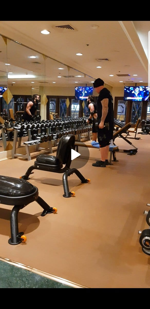 The Undertaker working out with Elias in a Saudi Arabia Gym Greatest Royal Rumble