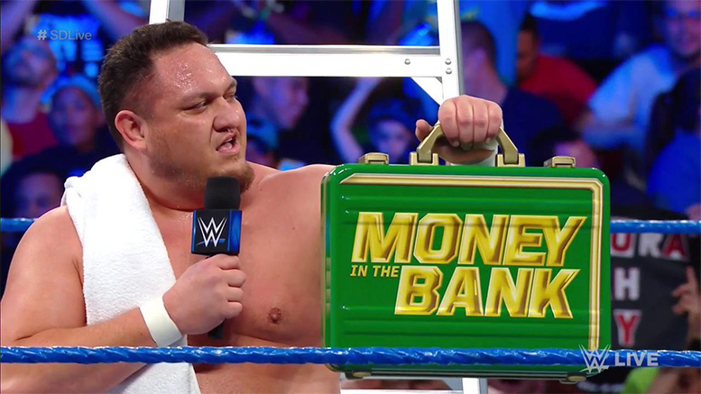 Samoa Joe with Money In The Bank 2018 Briefcase SmackDown Live