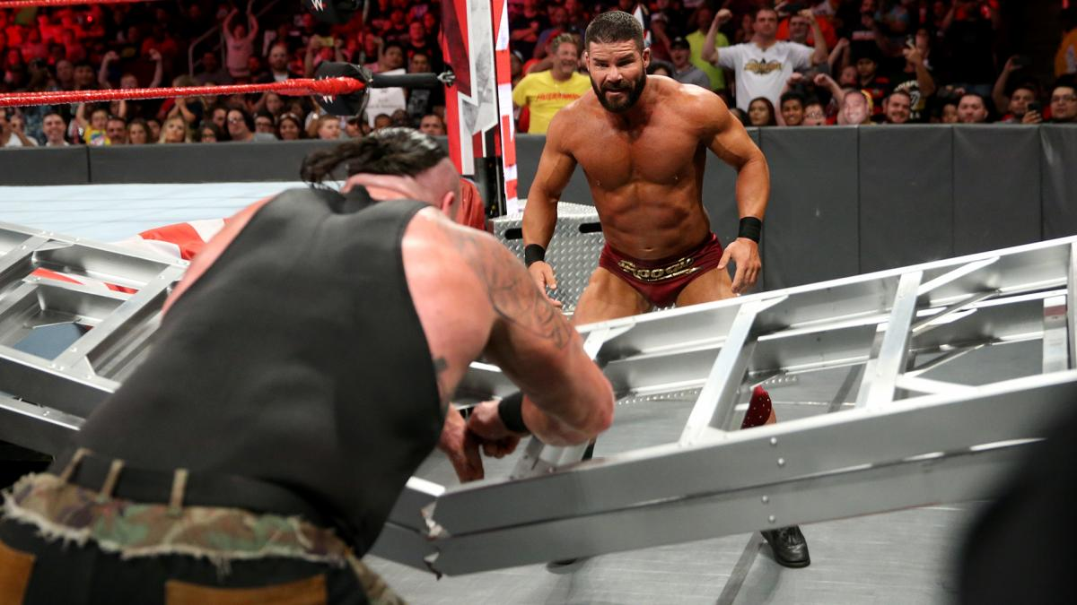 Braun Strowman Breaks A Ladder with his hands on RAW during match with Bobby Roode