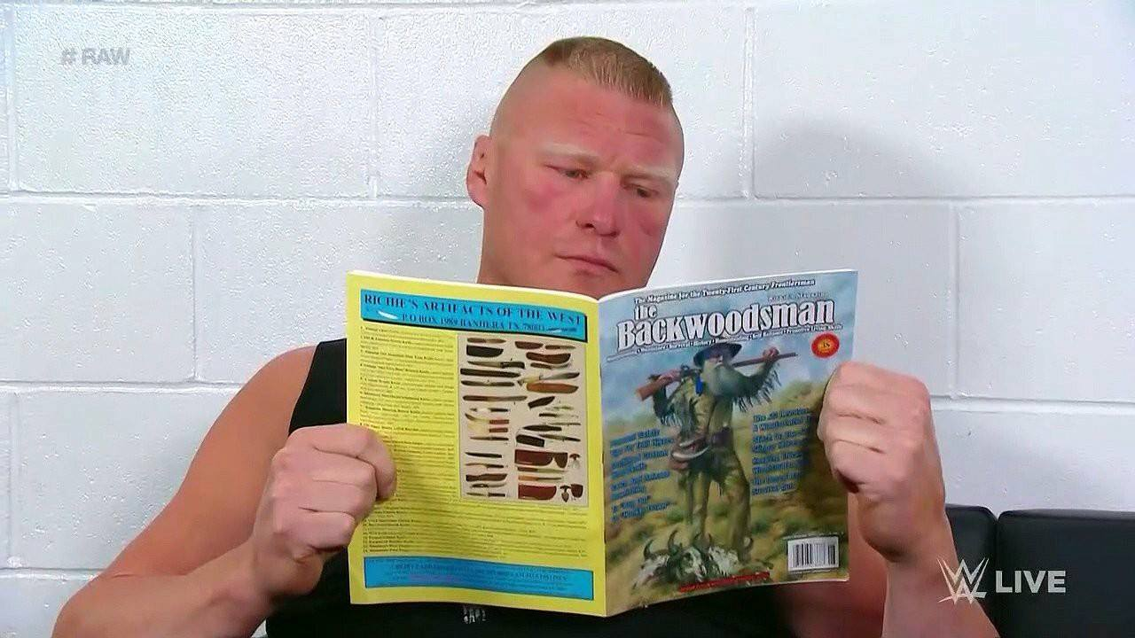 Brock Lesnar reading a magazine backstage at RAW 2018