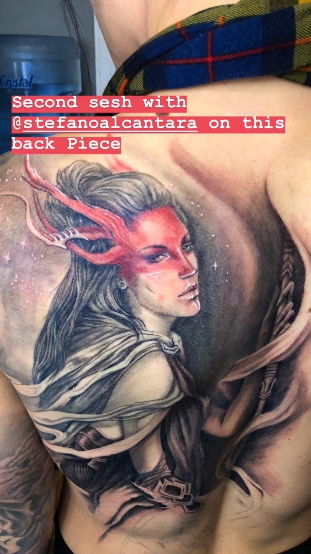 Kaitlyn Celeste Bonin New Back Tattoo