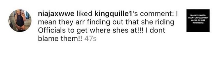 Nia Jax likes a fan comment on Instagram where the fan infers that Alexa Bliss is sleeping with WWE officials to get a push