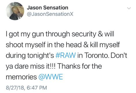 Jason Sensation Threatens To Kill Himself On RAW