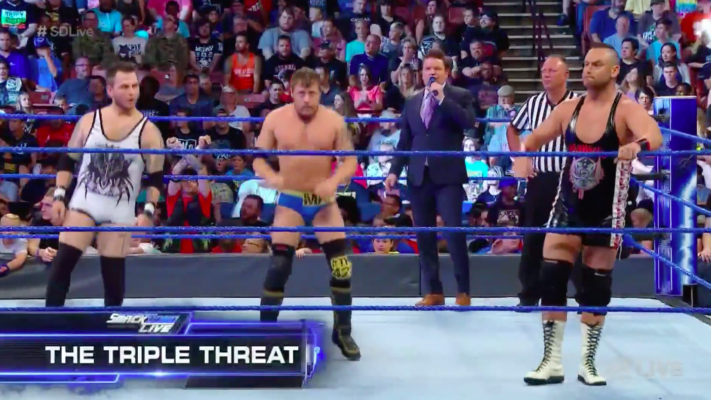 The Triple Threat Jobbers Stable On WWE SmackDown Live Attacked By The Bludgeon Brothers