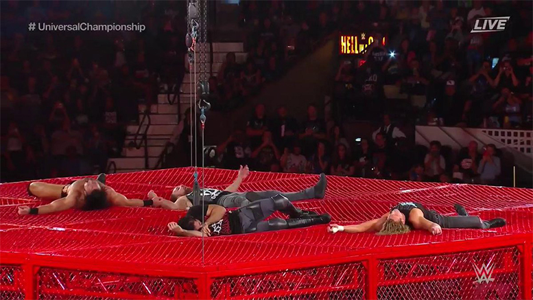 Dolph Ziggler Drew McIntyre Seth Rollins Dean Ambrose Fight On Top Of Red Hell In A Cell 2018