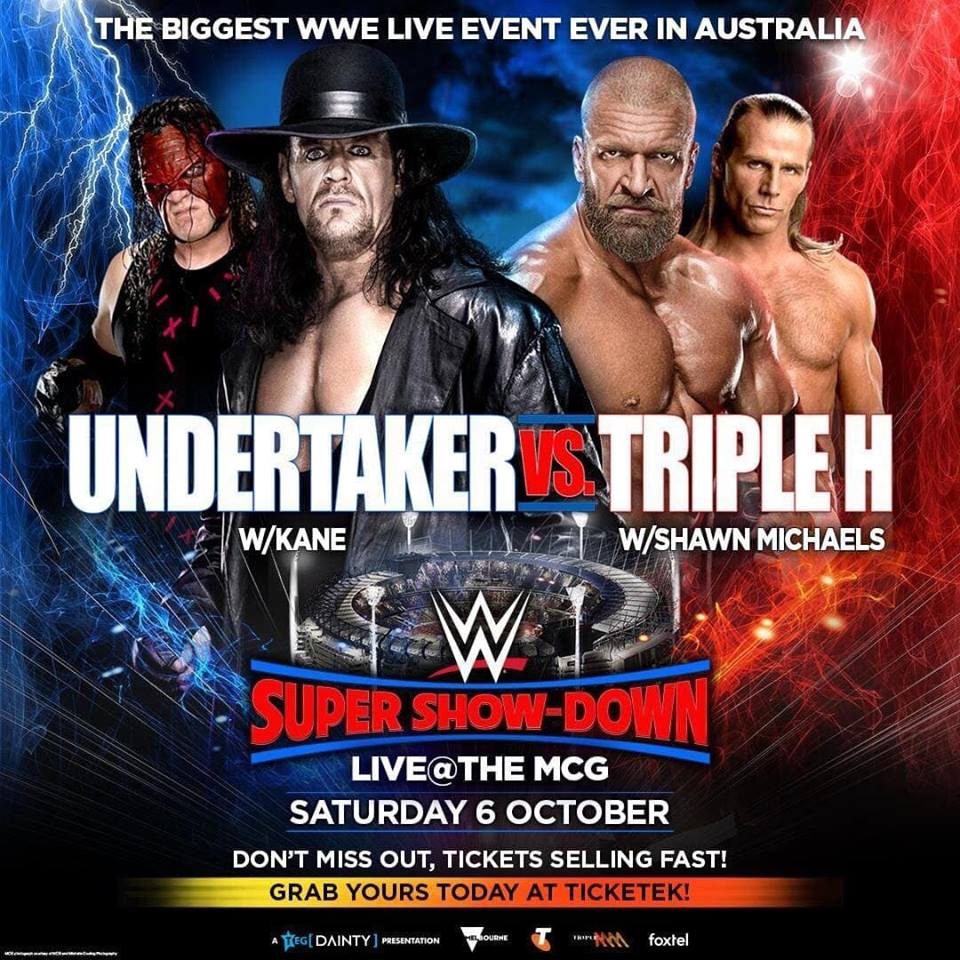 The Undertaker Kane Triple H Shawn Michaels WWE Super Show-Down 2018 Poster