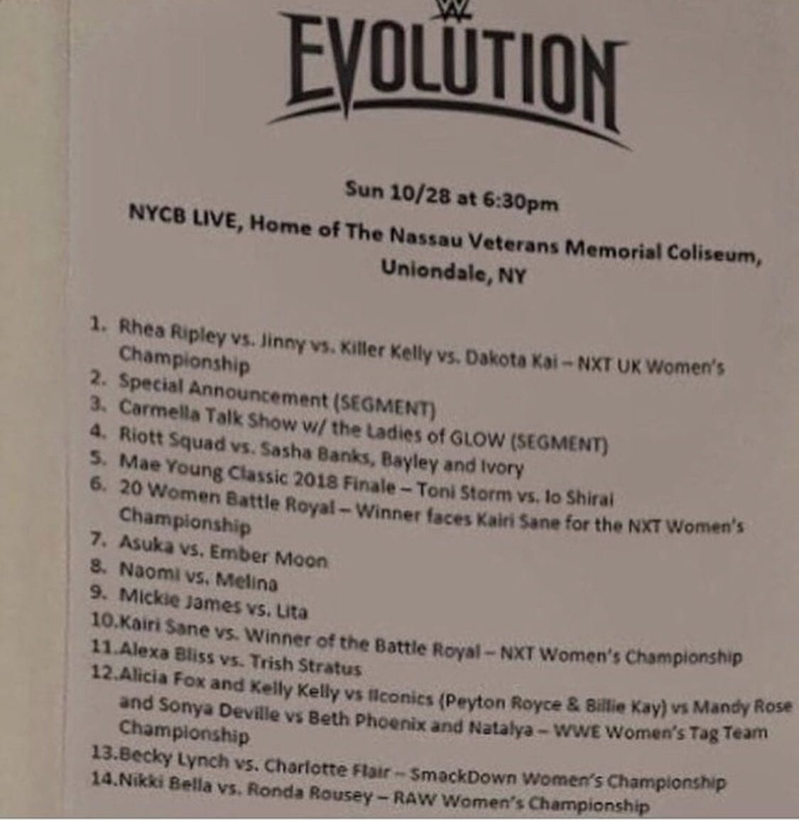 WWE Evolution 2018 Match-Card Leaked