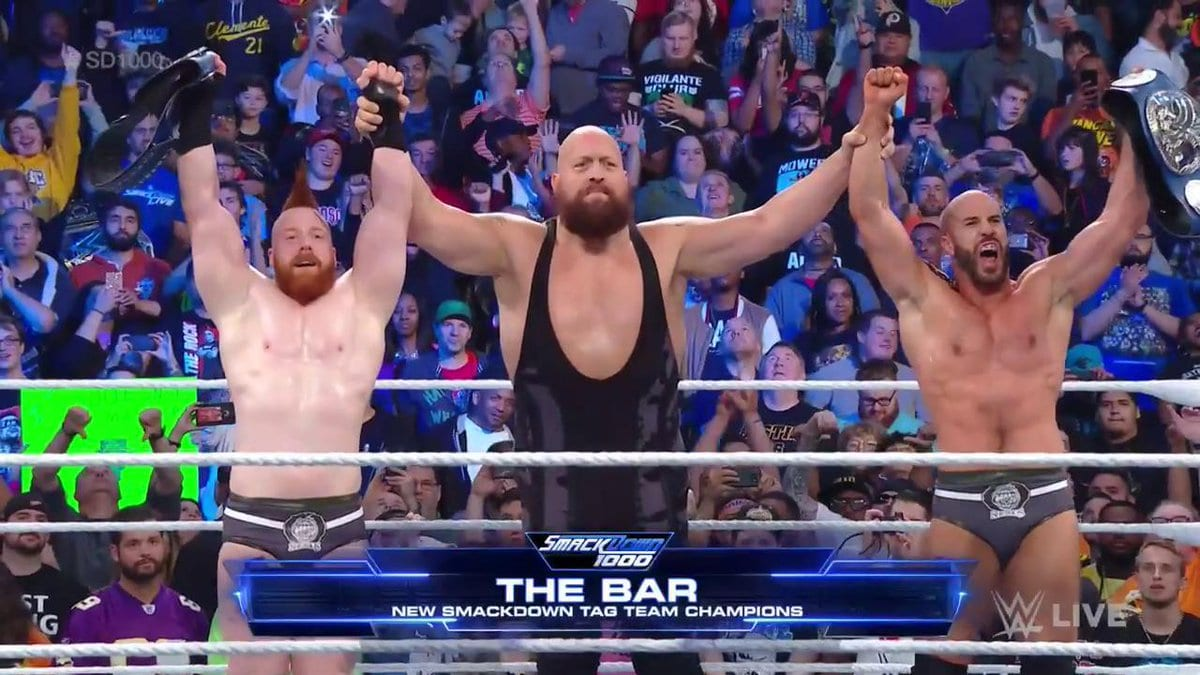 Big Show Turns Heel & Helps The Bar Wins SmackDown Tag Team Titles At SmackDown 1000