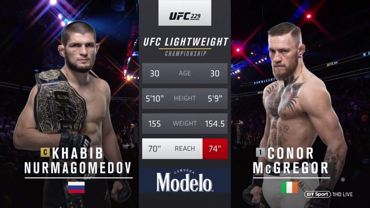 Conor McGregor Khabib Nurmagomedov UFC 229 Fight Stats