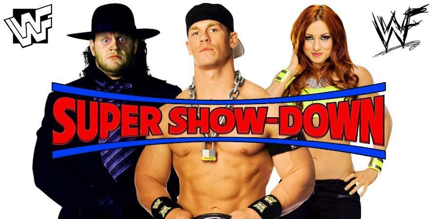 The Undertaker John Cena Becky Lynch WWE Super Show-Down
