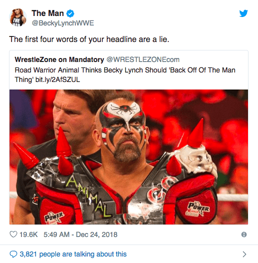 Becky Lynch Reacts To Road Warrior Animal Being Negative About The Man Gimmick & Women Main Eventing In WWE